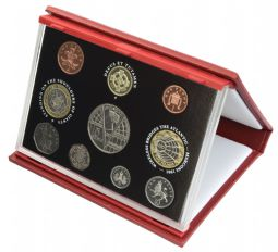 2001 Proof set red Leather deluxe for sale